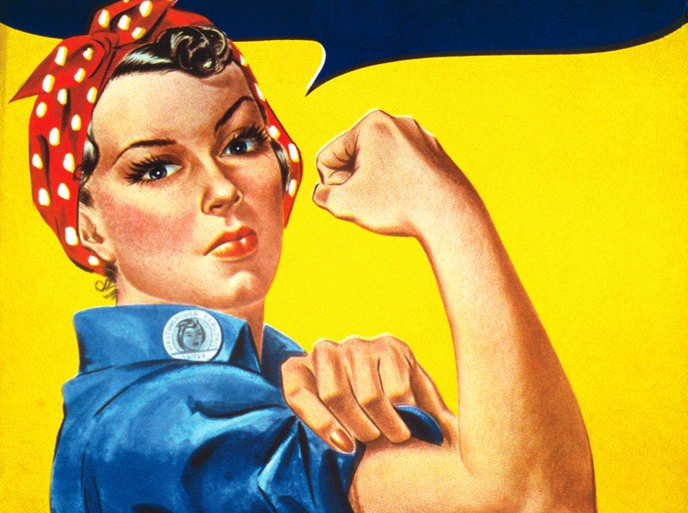 Nhân vật Rosie the Riveter trong trang phục biểu tượng thời trang Mỹ