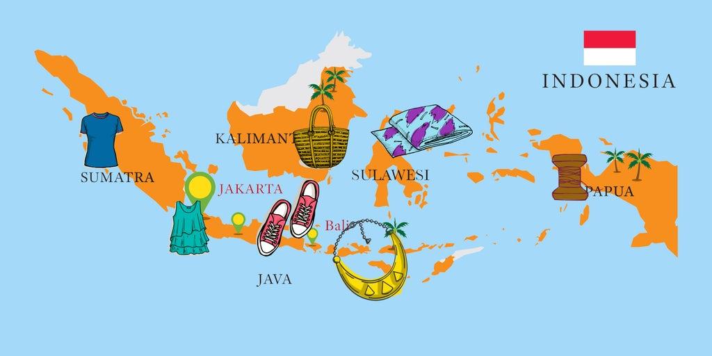 Bản đồ thể hiện sự phát triển của ngành công nghiệp sản xuất thời trang ở Indonesia