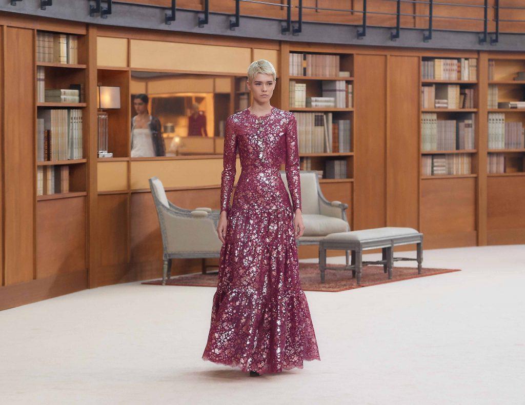 đầm hoa đính sequin lộng lẫy chanel haute couture