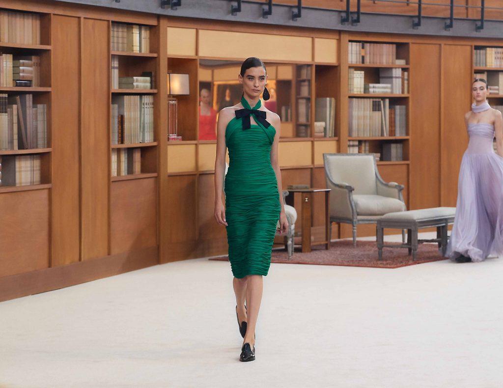 đầm dự tiệc màu xanh lá chanel haute couture 2019