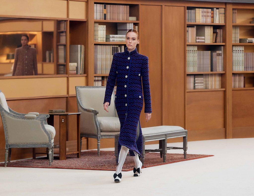 váy dài vải tweed chanel haute couture thu đông 2019