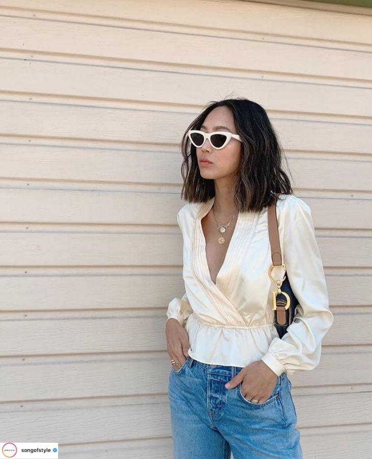 thời trang cung cự giải áo lụa tay dài màu trắng mắt kính gọng trắng
