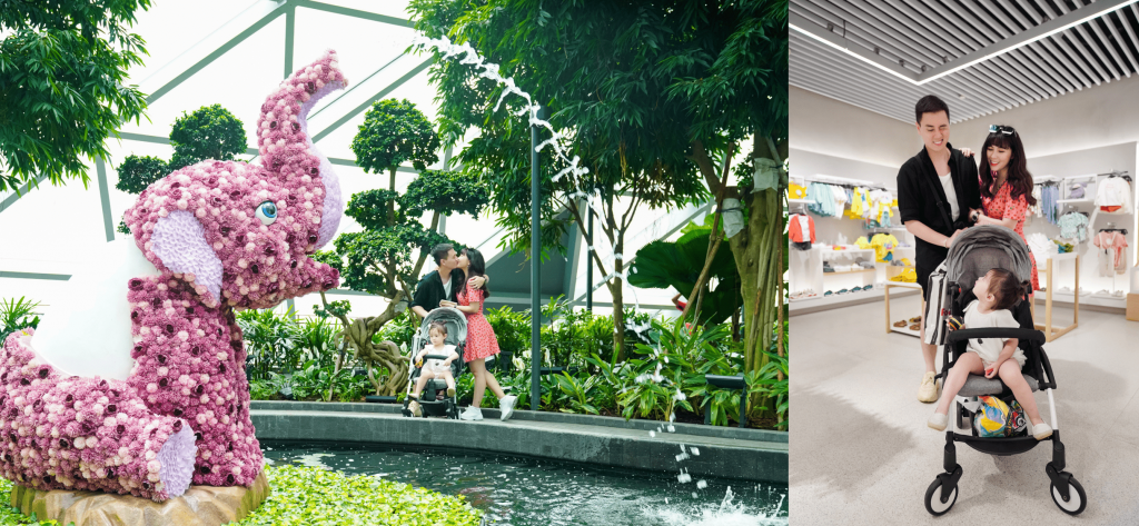 vlogger kiên hoàng và vợ loan hoàng cùng con gái tại jewel changi singapore