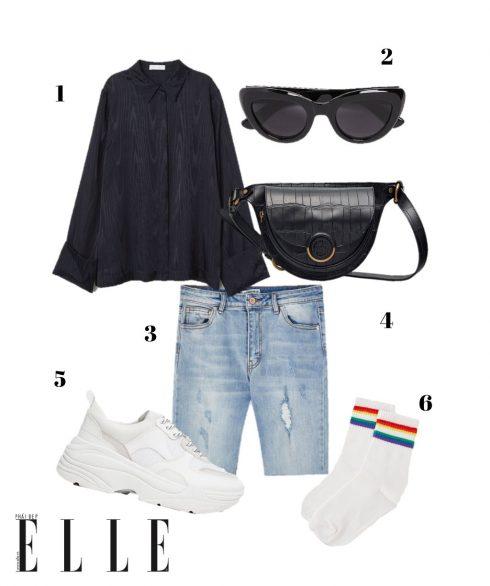 1. Áo sơmi lụa H&M, 2. Kính mát Zara, 3. Quần shorts đạp xe denim Pull&Bear, 4. Belt bag Massimo Dutti, 5. Giày sneakers Stradivarius, 6. Vớ cầu vồng Pull&Bear.
