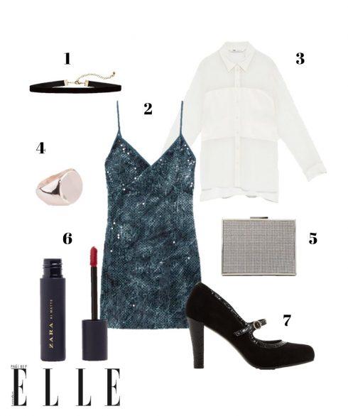 1. Choker H&M, 2. Đầm Zara, 3. Áo sơmi Zara, 4. Nhẫn Lovisa, 5. Clutch Aldo, 6. Son Zara, 7. Giày Mary Jane Dune London.