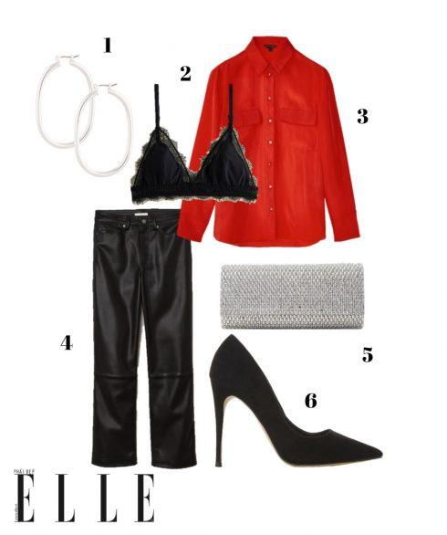 1. Hoa tai Lovisa, 2. Bralette Mango, 3. Áo sơmi lụa đỏ Massimo Dutti, 4. Quần H&M, 5. Clutch Aldo, 6. Giày cao gót Dune London.