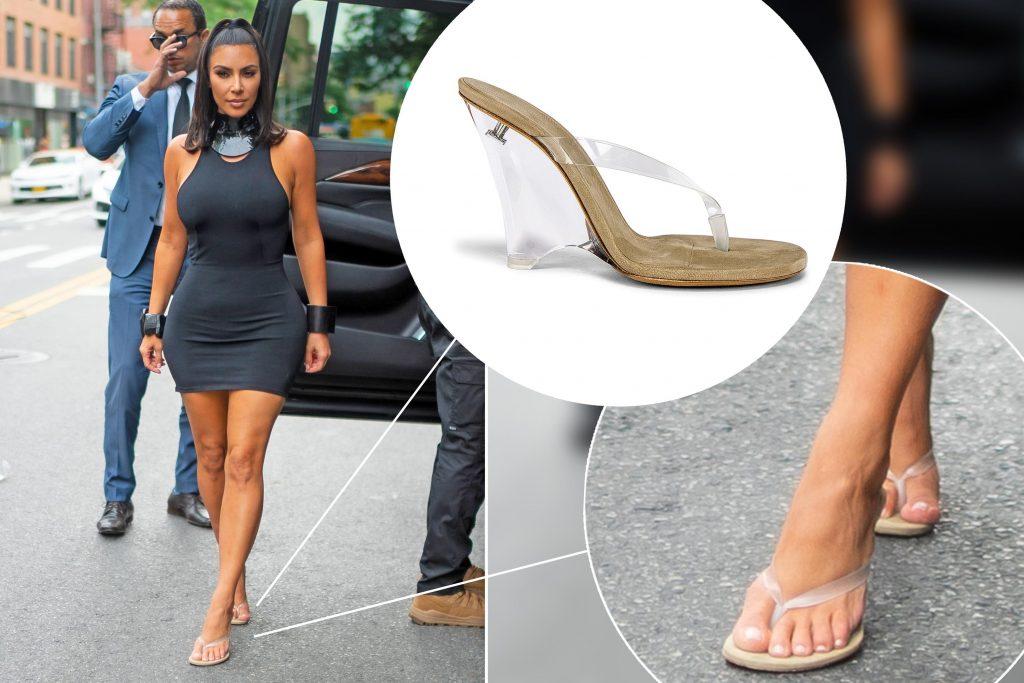kim kardashian mang dép xỏ ngón có gót trên phố 2