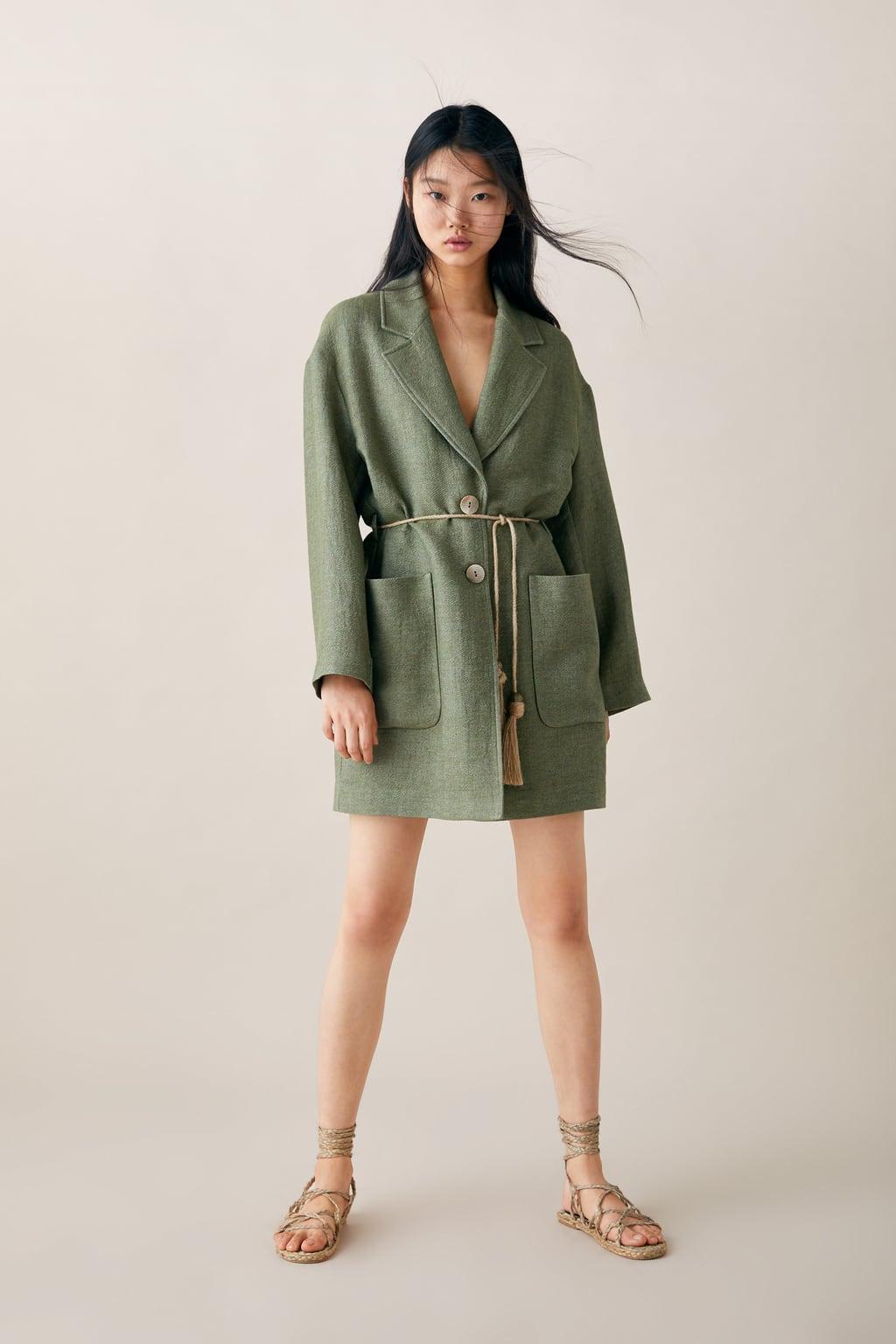 Áo khoác dáng dài ZARA màu xanh lá cây