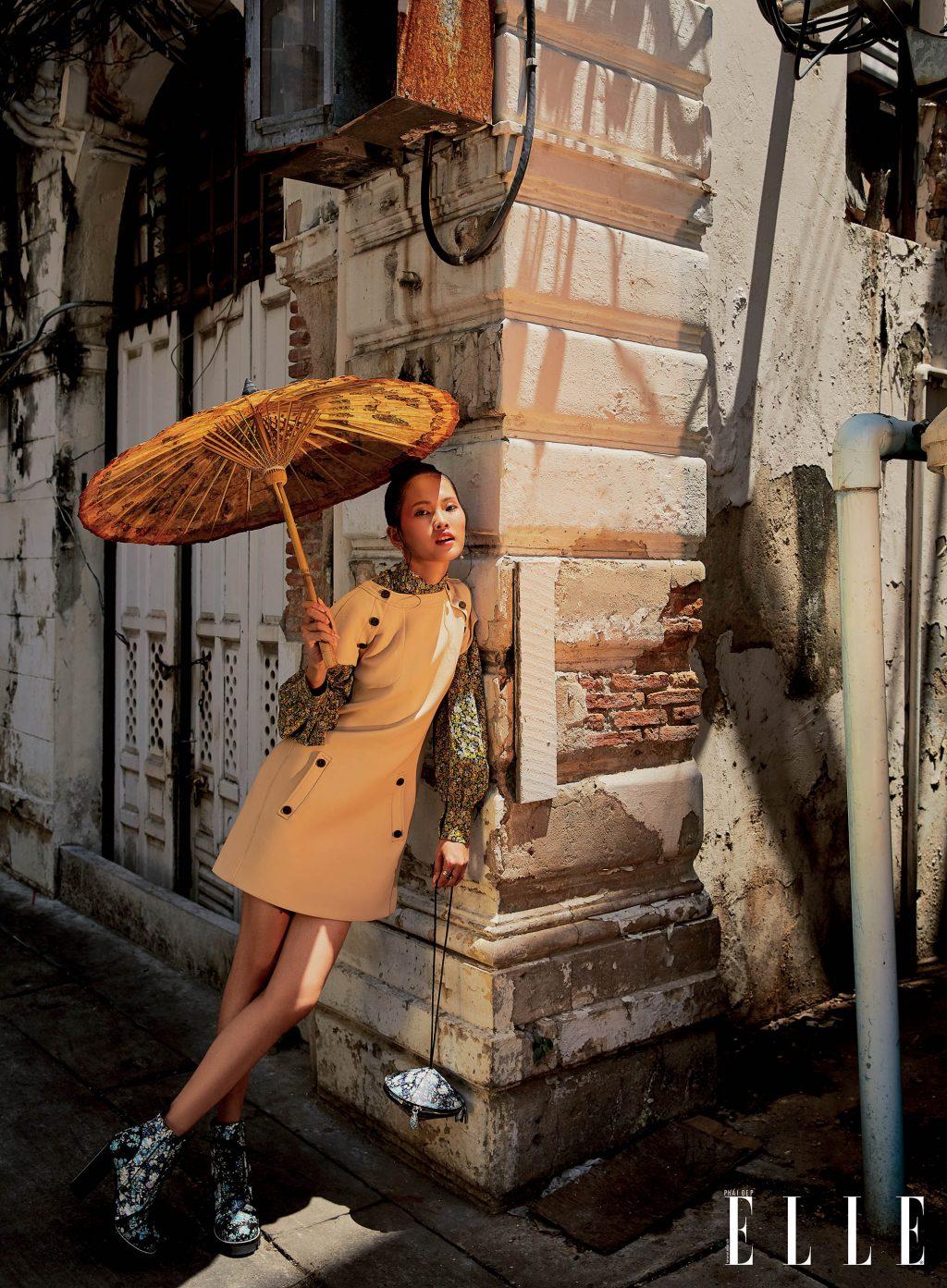 bộ ảnh bangkok vàng nắng - phối họa tiết hoa và đầm be