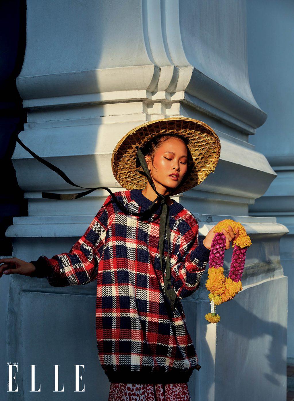 bộ ảnh bangkok vàng nắng - phối họa tiết kẻ ô và chấm bi