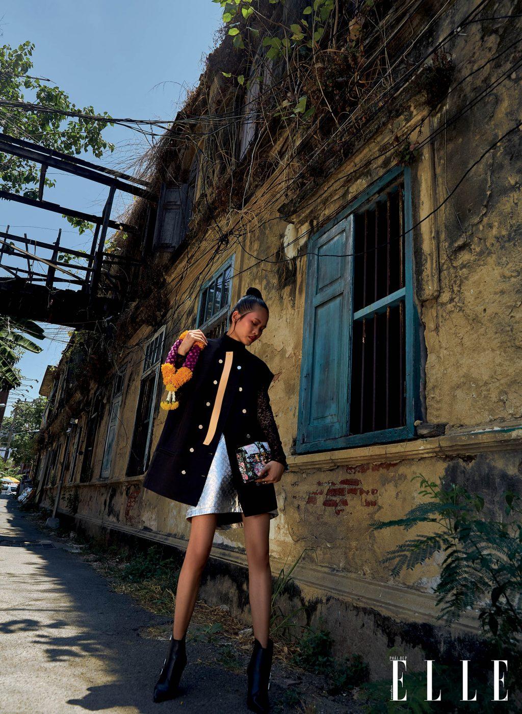 bộ ảnh thời trang bangkok vàng nắng - áo khoác màu đen và đầm ánh bạc