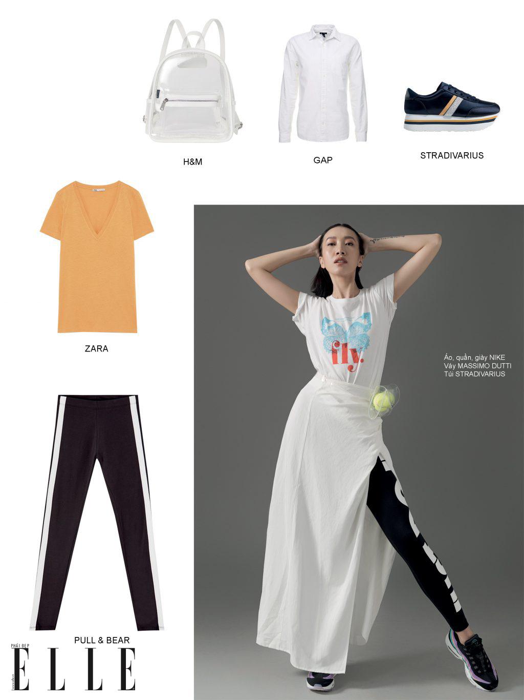 thời trang mùa hè - phong cách thể thao năng động - quần legging và áo sơ mi quấn