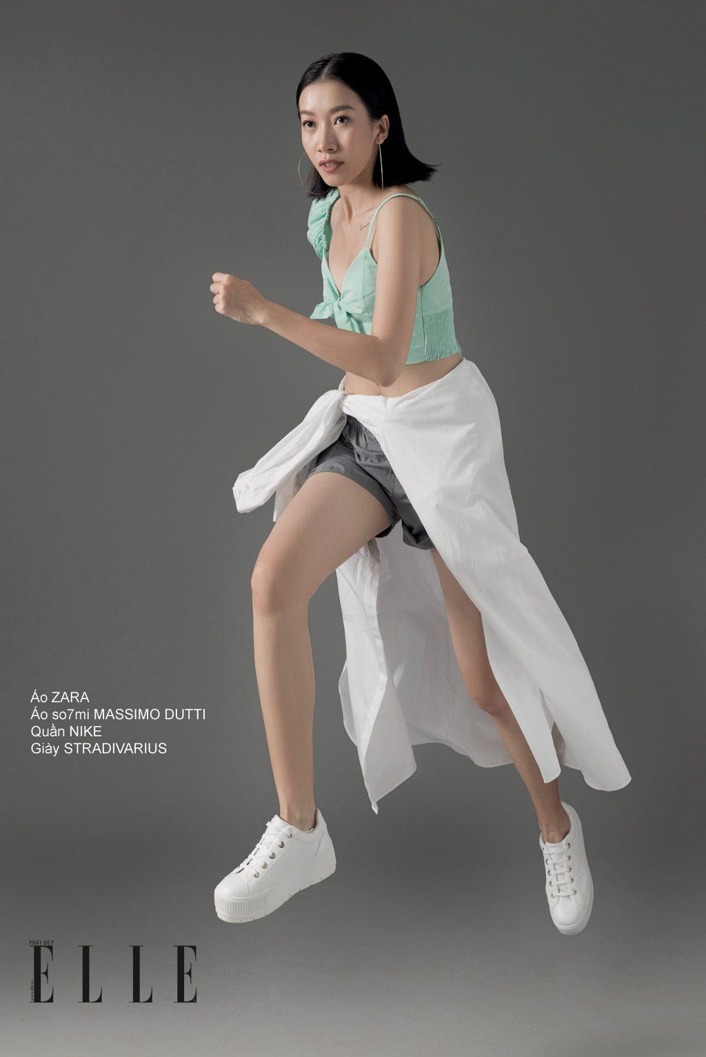 phong cách thể thao năng động - quần shorts, áo crop top và sơ mi cột quanh eo