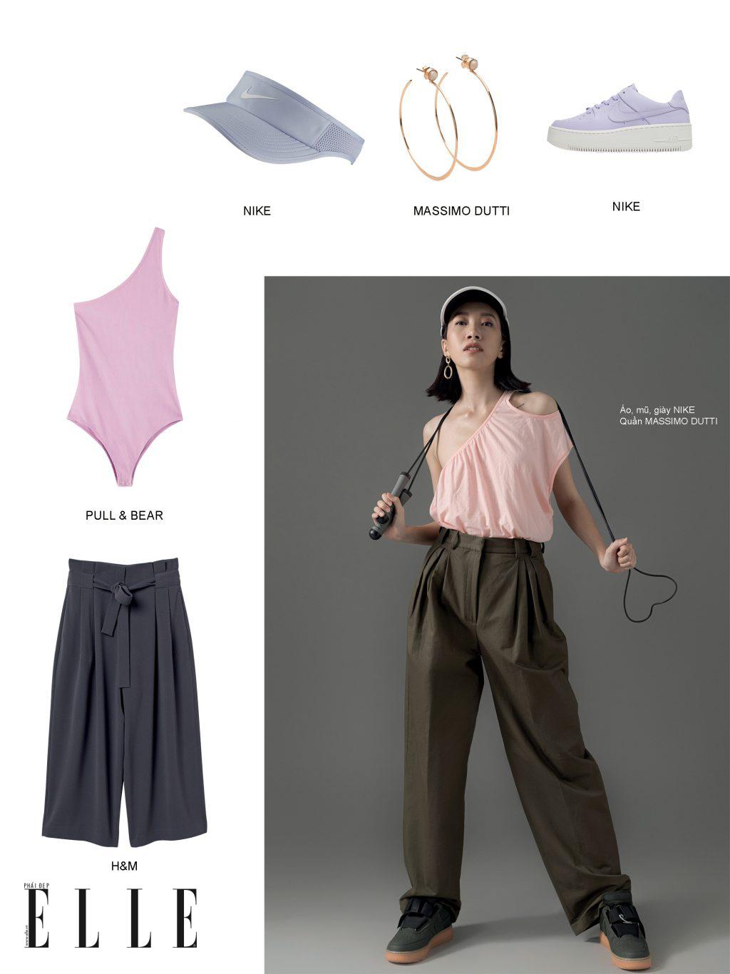 phong cách thể thao năng động - quần ống rộng và swimsuit
