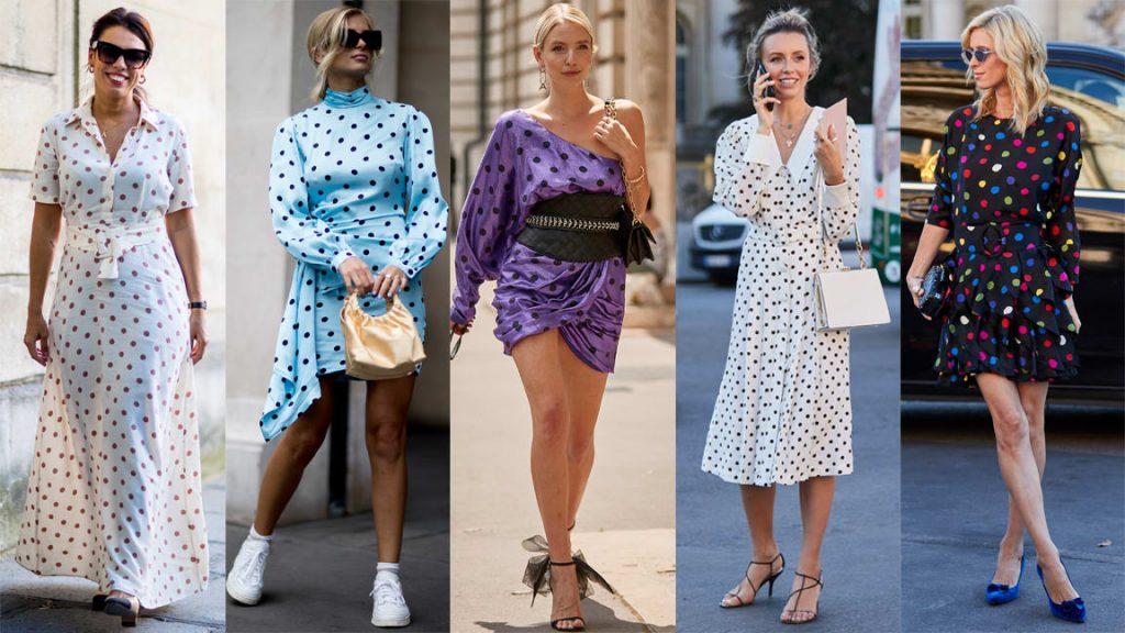 Các thiết kế hoạ tiết polka-dot màu trắng, xanh thiên thanh và tím