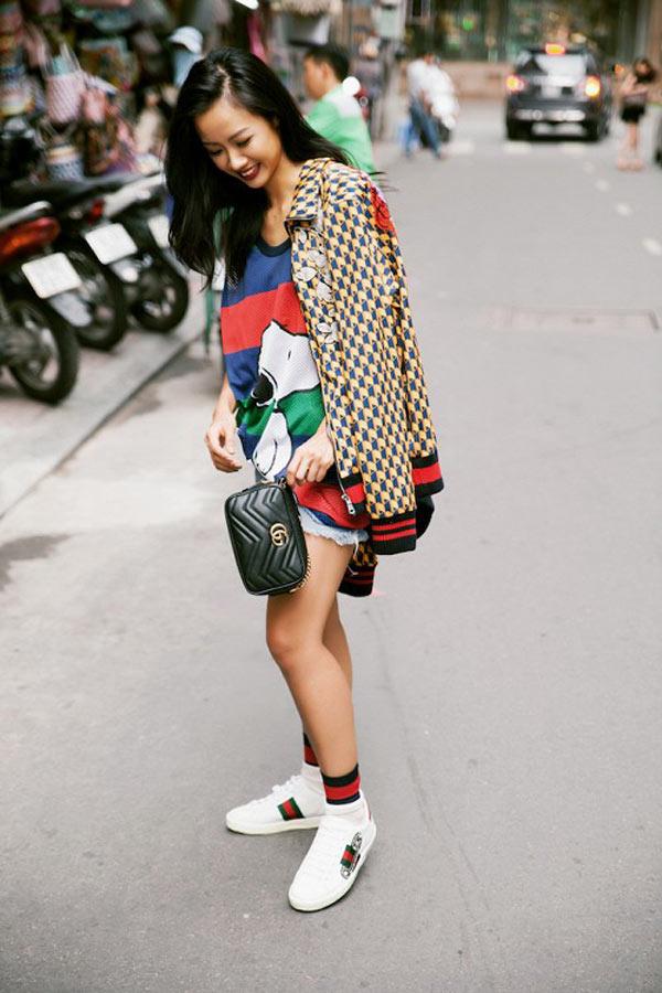 Suboi cá tính và năng động trong giày sneakers ACE Gucci