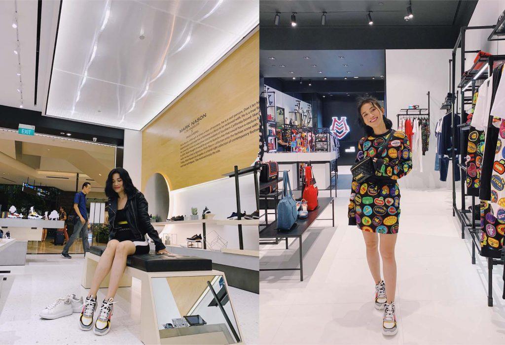 Sĩ Thanh tại khu mua sắm thời trang thiết kế Singapore