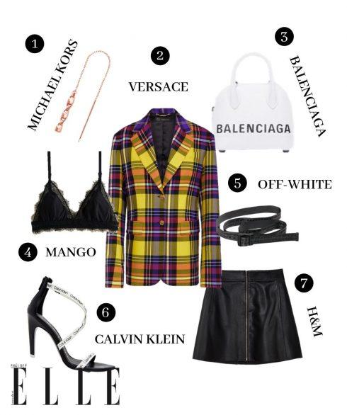 1. Hoa tai Michael Kors, 2. Blazer Versace, 3. Túi Balenciaga, 4. Bralette Mango, 5. Thắt lưng Off-White, 6. Giày Calvin Klein, 7. Chân váy H&M.
