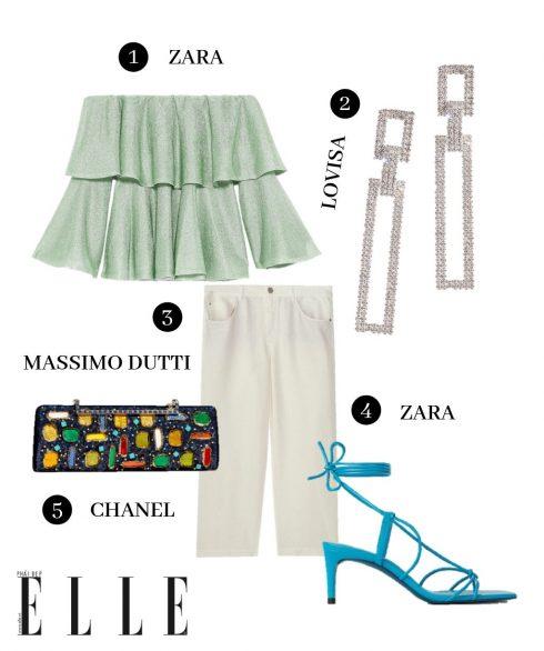 1. Áo Zara, 2. Hoa tai Lovisa, 3. Quần Massimo Dutti, 4. Giày Zara, 5. Clutch Chanel.