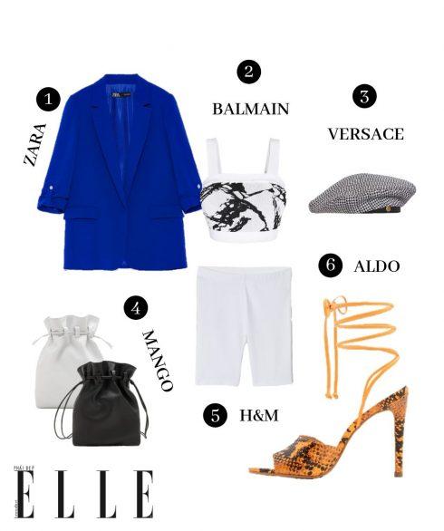 1. Blazer Zara, 2. Crop top Balmain, 3. Mũ beret Versace, 4. Belt bag Mango, 5. Quần cua-rơ H&M, 6. Giày Aldo.