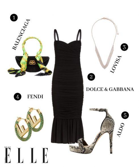 1. Túi Balenciaga, 2. Đầm Dolce & Gabbana, 3. Vòng cổ Lovisa, 4. Hoa tai Fendi, 5. Giày Aldo.