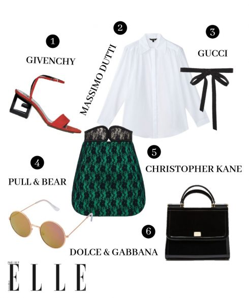 1. Giày Givenchy, 2. Áo sơmi Massimo Dutti, 3. Nơ Gucci, 4. Kính Pull & Bear, Chân váy Christopher Kane, Túi Dolce & Gabbana.