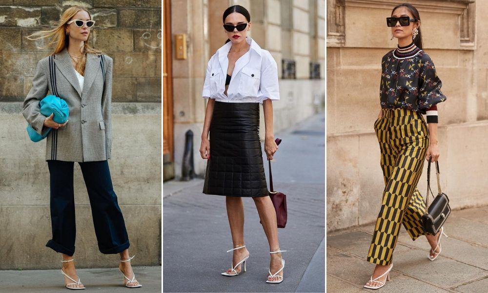 Fashionista đi giày mũi vuông trắng và cầm túi xách