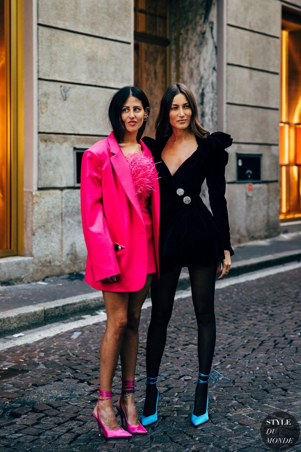 đầm hồng blazer giày cao gót tuần lễ thời trang milan