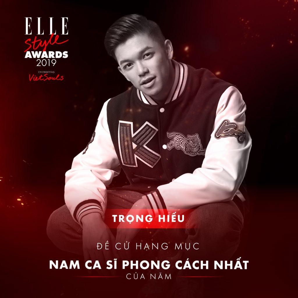 Trọng Hiếu hạng mục nam ca sĩ phong cách nhất ELLE Style Awards 2019