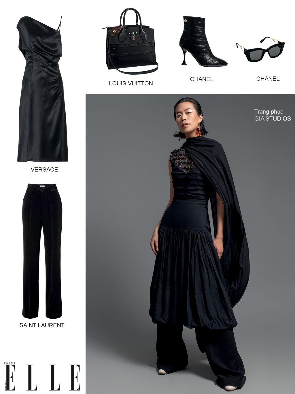 phối trang phục màu đen gia studios
