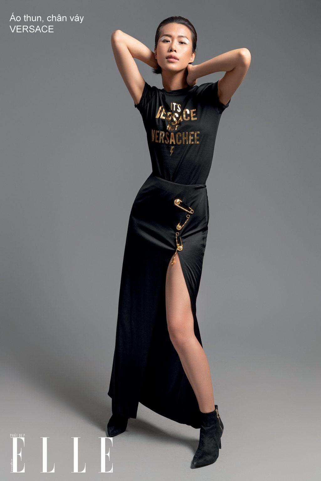 phối trang phục màu đen versace