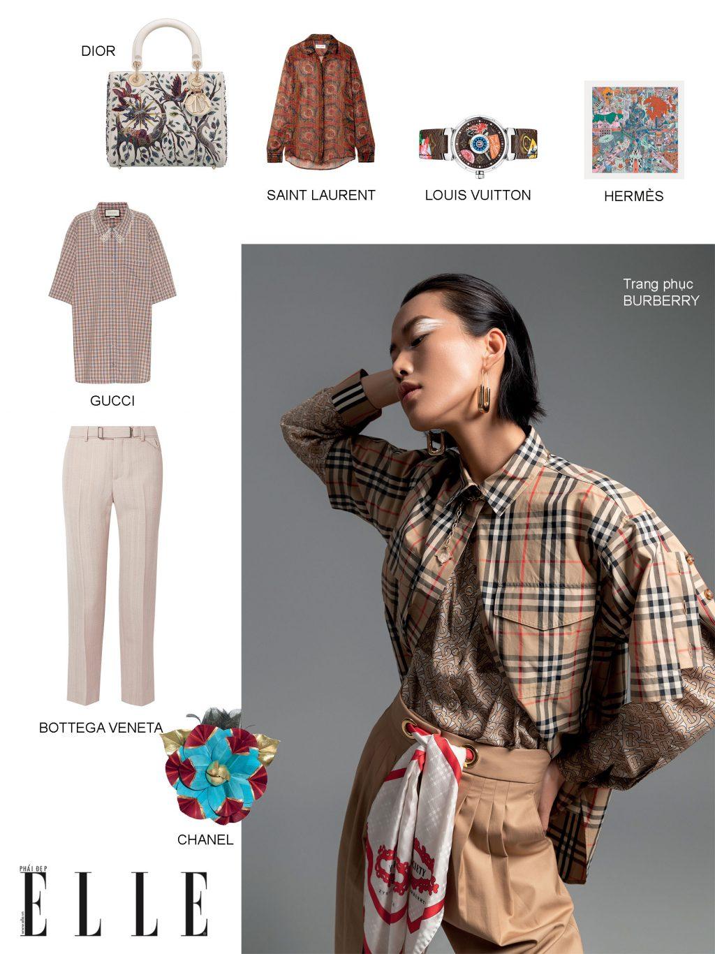 phối trang phục với đa dạng họa tiết