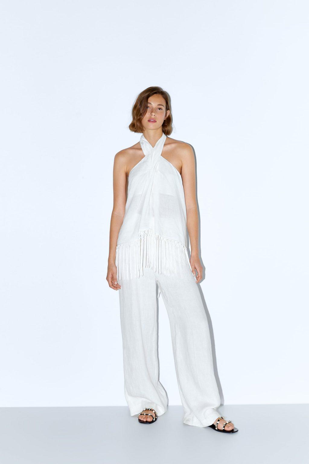 trang phục linen - áo cổ yếm màu trắng