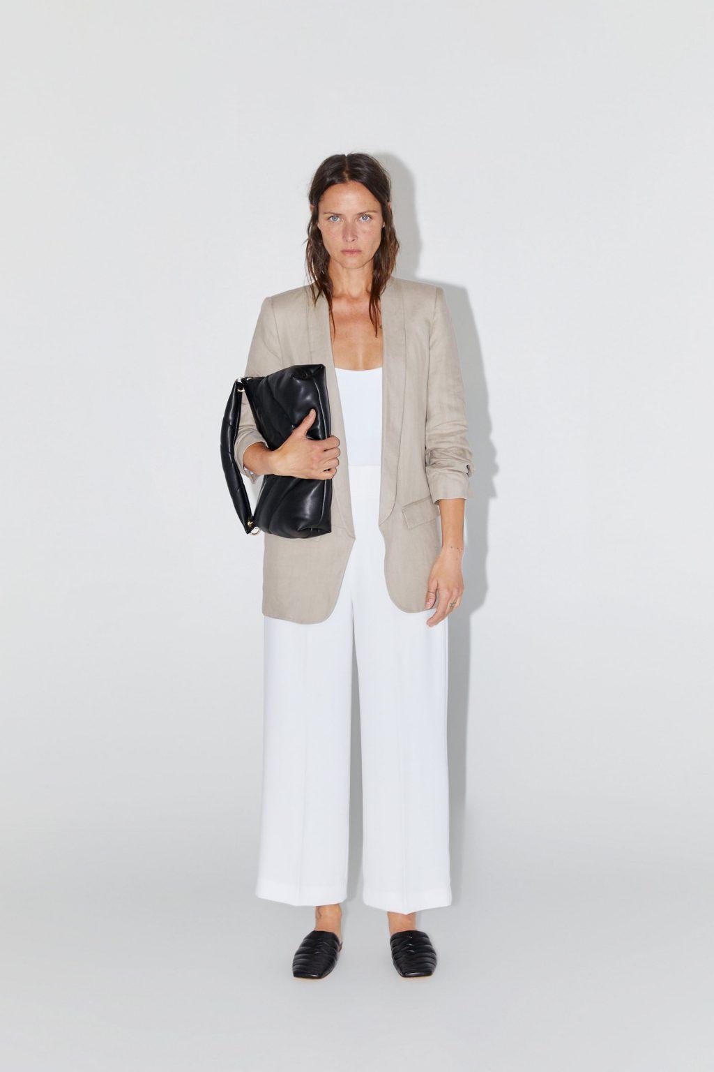 trang phục linen - áo khoác blazer Zara