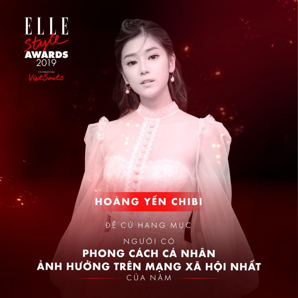 Hoàng Yến Chibi trong hạng mục phong cách cá nhân ELLE Style Awards 2019