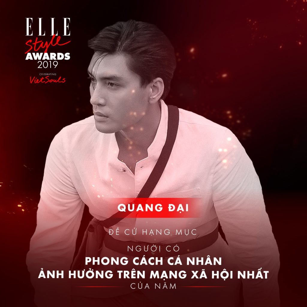 Quang Đại ở hạng mục phong cách cá nhân ELLE Style Awards 2019