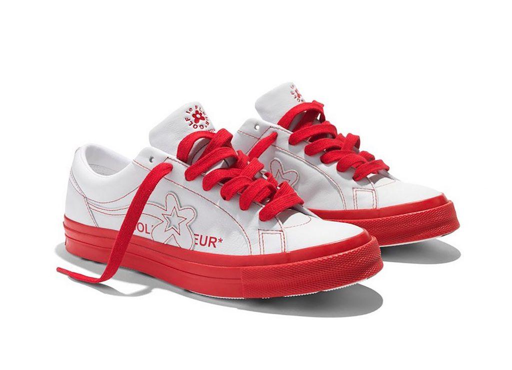 Giày Converse trắng viền đỏ