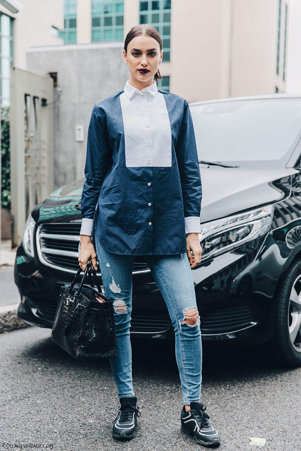 Irina Shayk diện áo sơmi và jeans rách