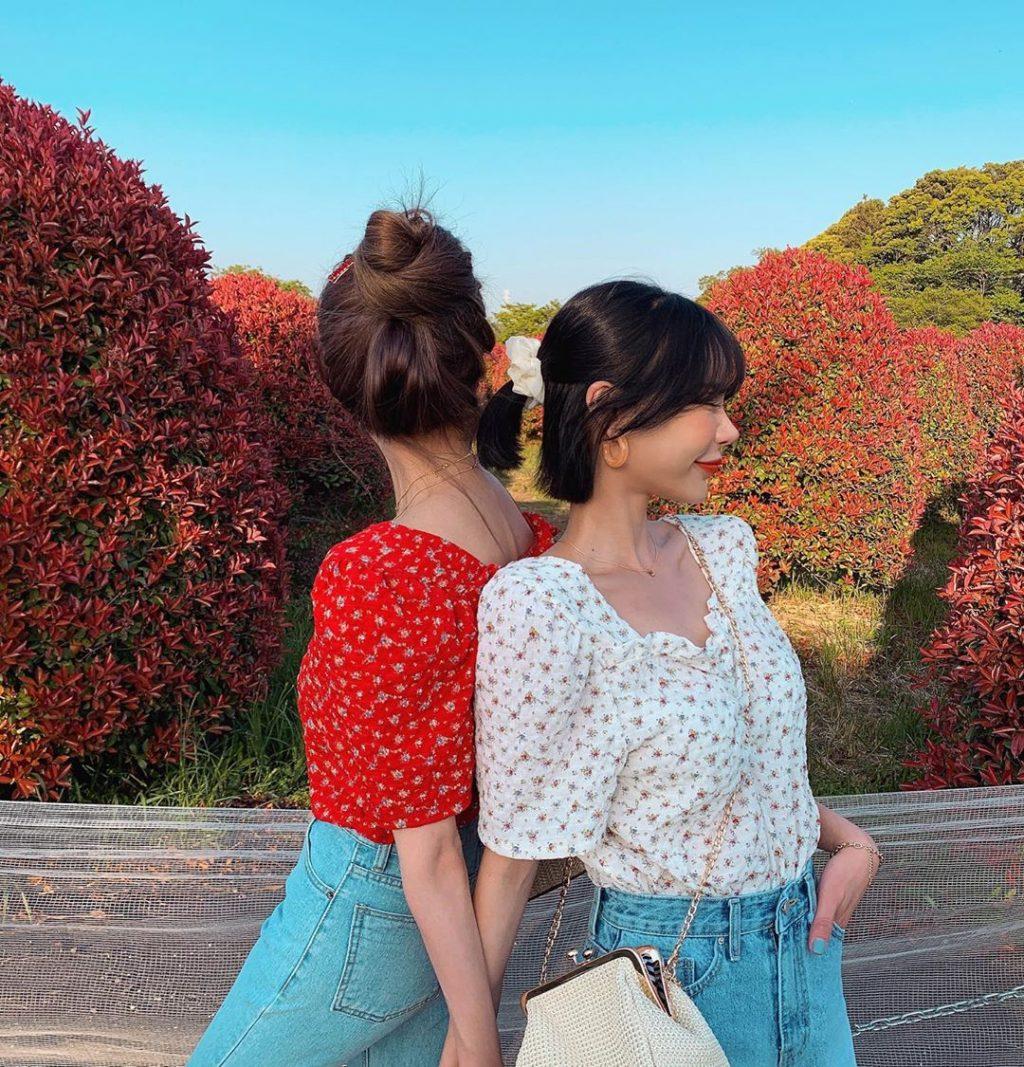 áo blouse tay phồng hoa tiết bi hoa