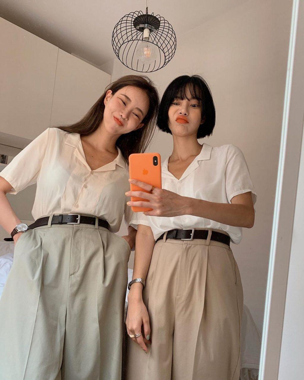 áo sơ mi tay ngắn phối cùng quần culottes