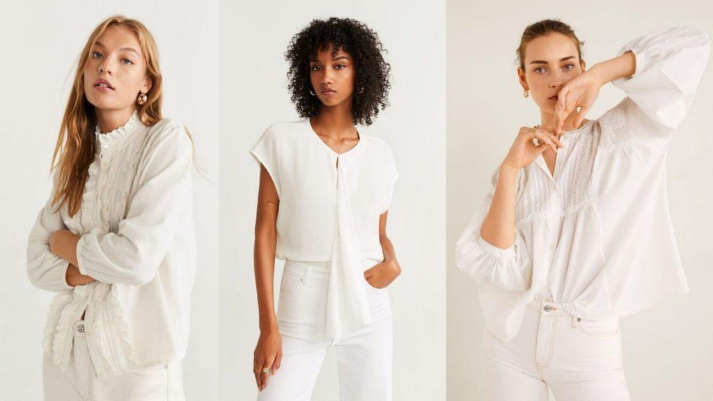 Các kiểu áo trắng với hoạ tiết cách điệu.