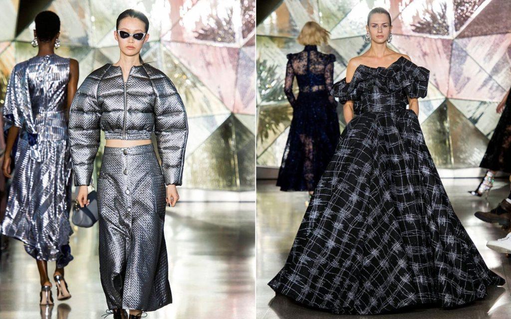 Người mẫu mặc áo tay bồng màu bạc và váy đen nhà Christian Siriano