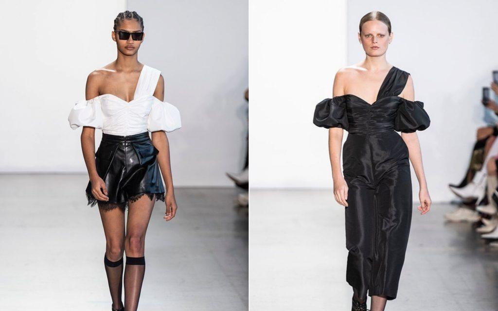 Người mẫu mặc áo trắng và váy đen tay bồng