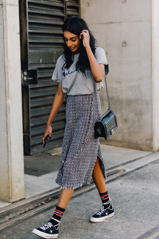 chân váy túi chanel áo phông