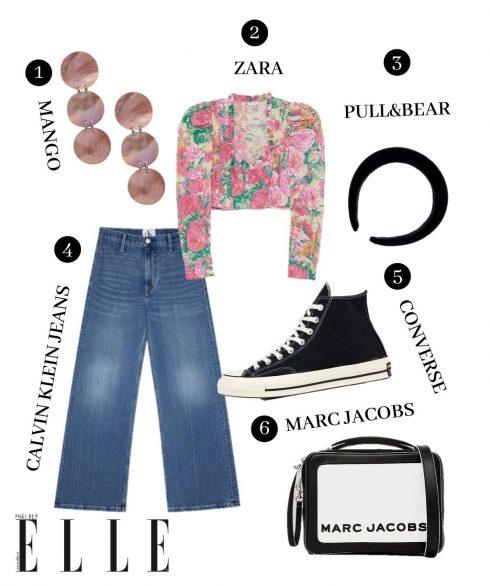 1. Hoa tai Mango, 2. Croptop Zara, 3. Băng đô Pull & Bear, 4. Quần jeans Calvin Klein Jeans, 5. Sneakers Converse, 6. Túi Marc Jacobs