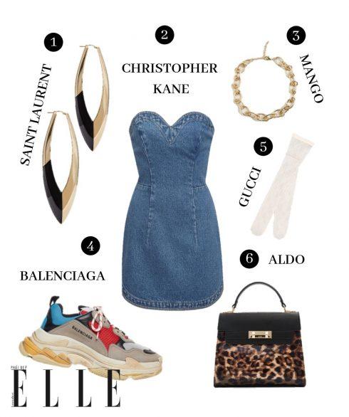 1. Hoa tai Saint Laurent, 2. Đầm Christopher Kane, 3. Vòng cổ Mango, 4. Giày Balenciaga, 5. Quần tất Gucci, 6. Túi Aldo