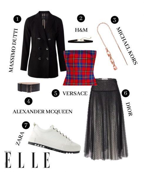 1. Blazer Massimo Dutti, 2. Choker H&M, 3. Hoa tai Michael Kors, 4. Thắt lưng Alexander McQueen, 5. Croptop Versace, 6. Chân váy Dior, 7. Sneakers Zara