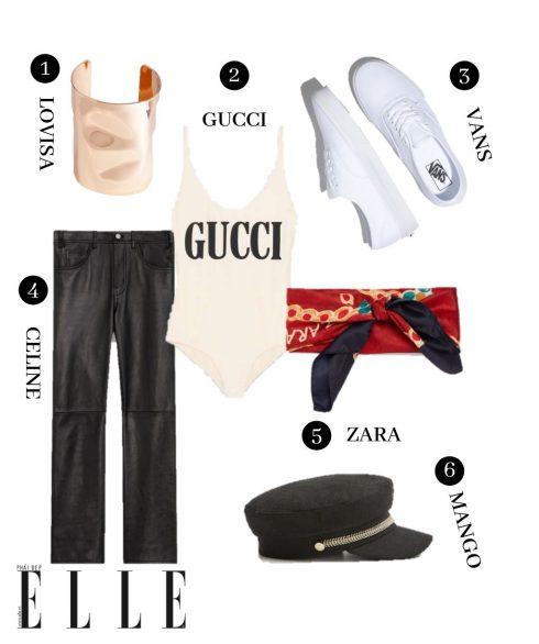 1. Vòng tay Lovisa, 2. Áo Gucci, 3. Giáy Vans, 4. Quần leggings Celine, 5. Khăn choàng cổ Zara, 6. Mũ Mango