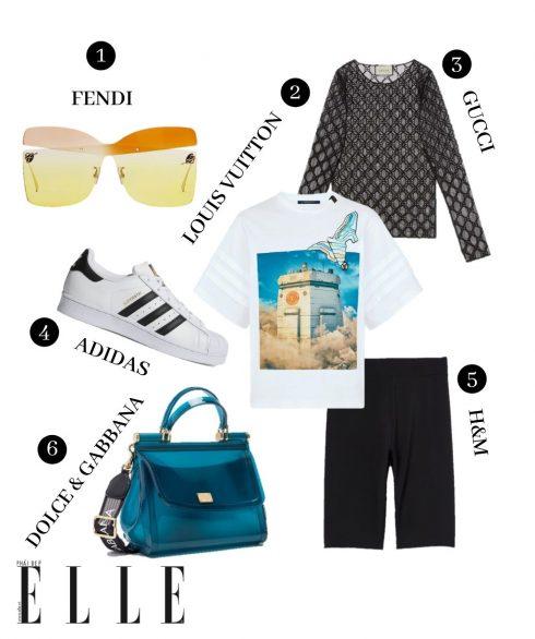 1. Kính Fendi, 2. Áo Louis Vuitton, 3. Áo ren Gucci, 4. Giày adidas, 5.  Quần shorts đạm xe H&M, 6. Túi Dolce & Gabbana