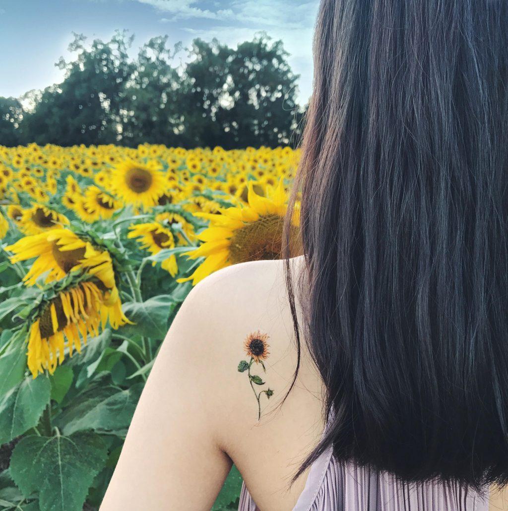 hoa hướng dương hình xăm hoa